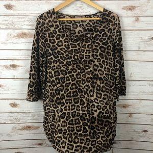Chico's Leopard Print Tunic peasant top size 2
